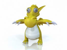 Cartoon Yellow Dragon 3d model