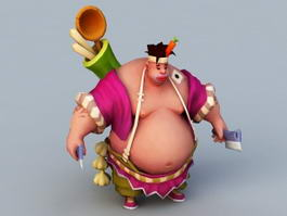 Oriental Man Cartoon 3d model