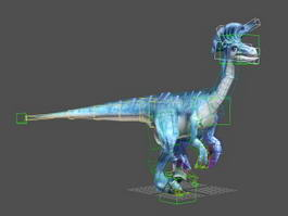 Blue Dinosaur Rig & Animated 3d model