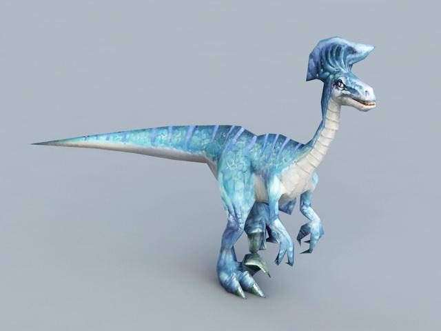 Blue Dinosaur Rig & Animated 3d model