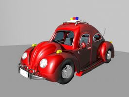 Red Police Car Cartoon 3d model