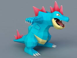 Blue Cartoon Dinosaur 3d model