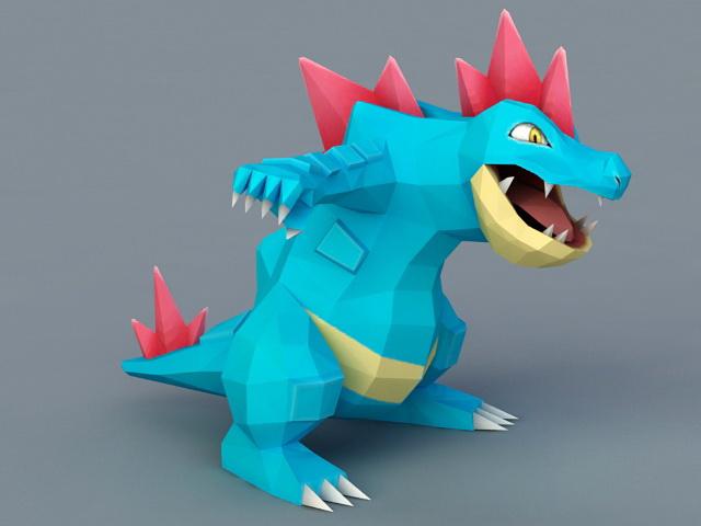 Blue Cartoon Dinosaur 3d model
