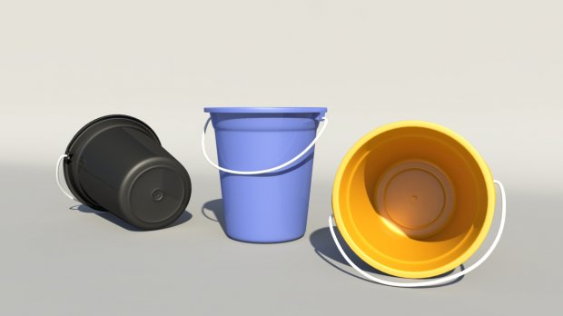 Plastic Buckets with Handles 3d model