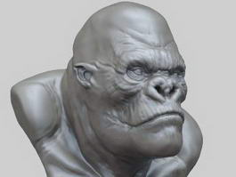King Kong Bust Sculpture 3d model