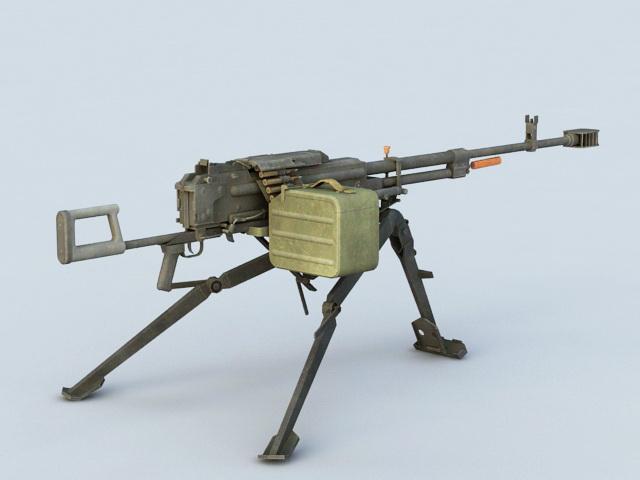 Light Machine Gun with Magazine 3d model