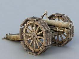Old Cannon Artillery 3d model