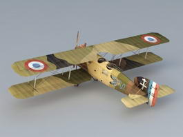 WW1 Breguet 14 French Biplane Bomber 3d model