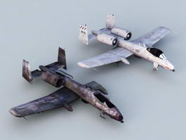 A-10 Thunderbolt II Aircraft Damage 3d model