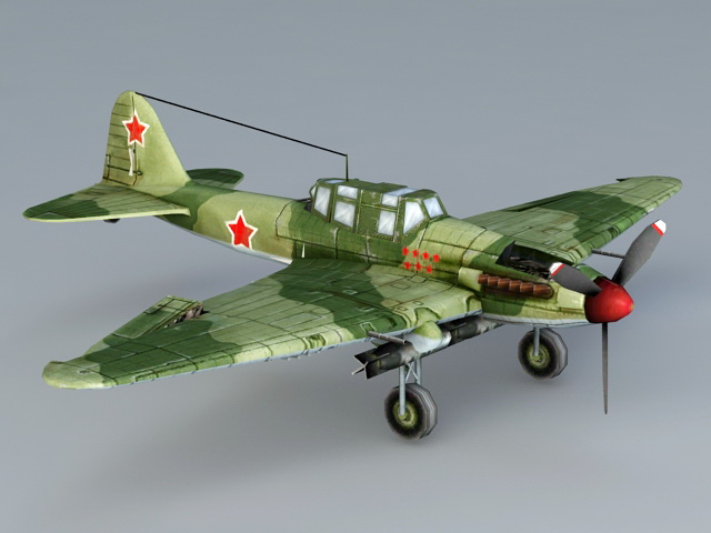 Ilyushin Il-2 Sturmovik 3d model Autodesk FBX files free download