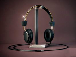 Headphone and Holder 3d model