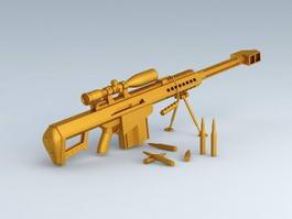 Gold Barrett Sniper Rifle 3d model