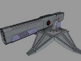 Futuristic Railgun Turret 3d model