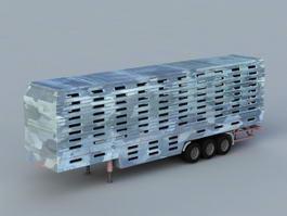 Semi Livestock Trailer 3d model