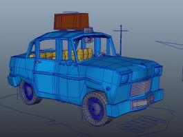 Cartoon Taxi Cab Rig 3d model
