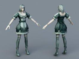 Medieval Servant Girl 3d model