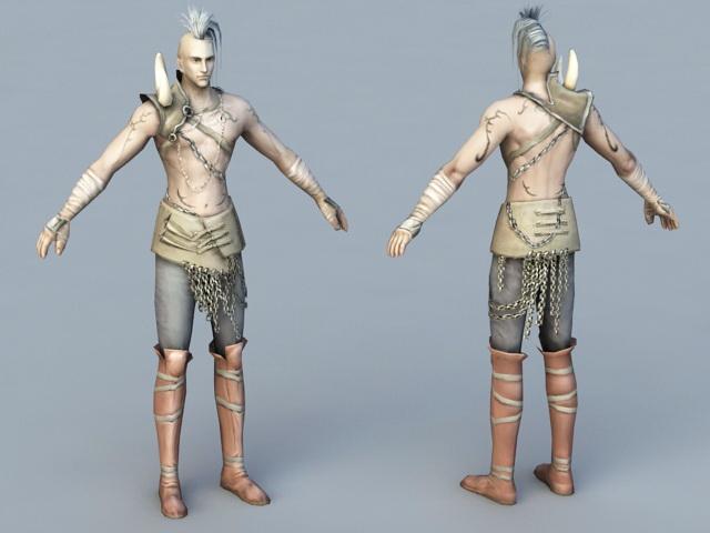 Male Barbarian Hunter 3d model