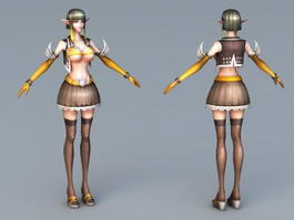 Elf Girl Mage 3d model