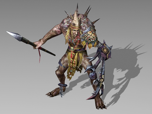 Humanoid monster warrior 3d model 3ds max files free for Monster 3d model