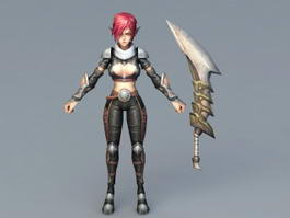 Red Hair Elf Girl Warrior 3d model