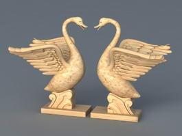 Swan Garden Statue 3d model