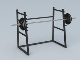 Gym Barbell Weight Rack 3d model