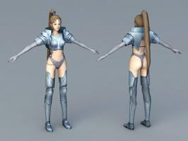 Armored Warrior Girl 3d model