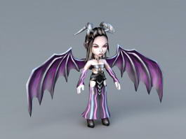 Female Demon with Wings 3d model