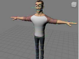 Cartoon Man Rig & Animated 3d model