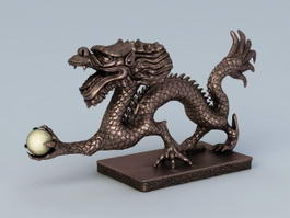 Ancient Chinese Dragon Sculpture 3d model