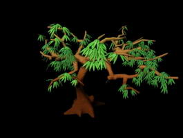 Cartoon Tree with Branches and Leaves 3d model