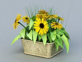 Sunflower Garden Planter 3d model