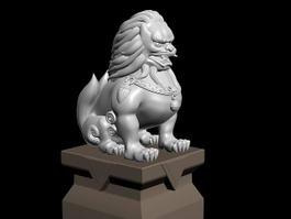 Lion Sculpture Statue 3d model