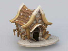 Cartoon Village House 3d model