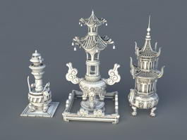 Large Antique Incense Burners 3d model