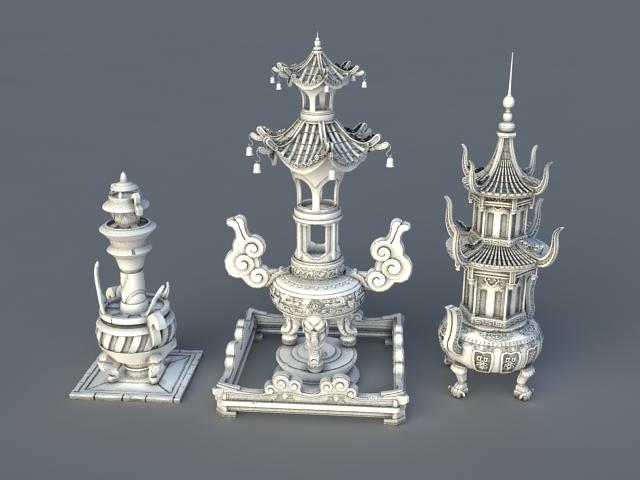 Large Antique Incense Burners 3d model