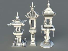 Chinese Garden Lanterns 3d model