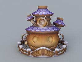 Cartoon Pumpkin House 3d model