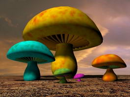 Cartoon Mushrooms 3d model