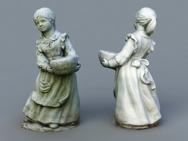 Little Girl Garden Statue 3D Model