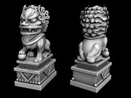 Stone Lion Statues 3d model