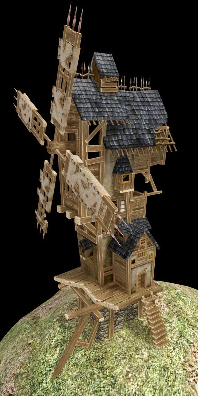 Medieval Windmill 3d Model 3ds Max Files Free Download