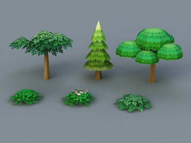 Low poly Bushes and Trees 3d model