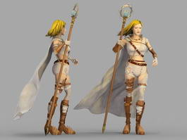 Beautiful Female Mage 3d model