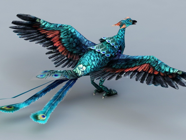 Blue Peacock Phoenix 3d Model 3ds Max Files Free Download Modeling