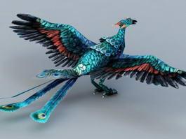 Blue Peacock Phoenix 3d model