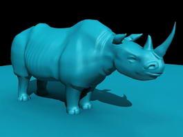Blue Rhinoceros Statue 3d model