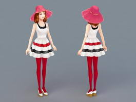 Summer Lady 3d model