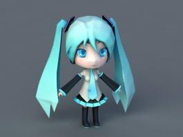 Chibi Hatsune Miku 3d model