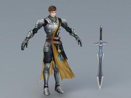 Knight with Sword 3d model